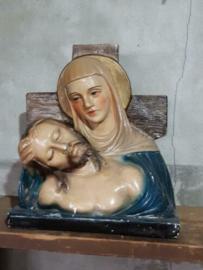 Oude Brocante Antiek  Maria Jezus Buste- Gipsen Beeld