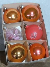 Oude Vintage Kerstballen 5669 Doosje Mix Goud Zalm