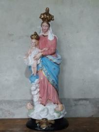 Oude Antiek Maria des Victoires Beeld Mariabeeld Roze Blauw