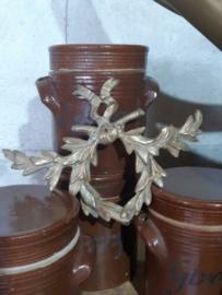 Oude Antieke Koperen Ornament van Kast of Spiegel Lauwerkrans