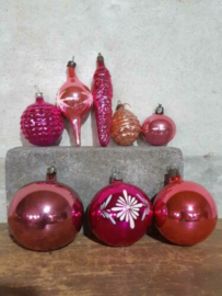 Oude Vintage Kerstballen 5682 Doosje Mix  Roze