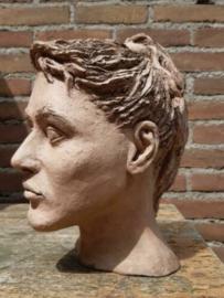 Oude Vintage Buste  Hoofd Vrouw Beeld Klei Keramiek