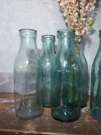 Oude Vintage Melkflesje Groen Glas