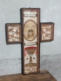 Oude Antieke Vitrine Kloosterwerk Reliekschrijn Wassen Jezus Heilig Aanschijn