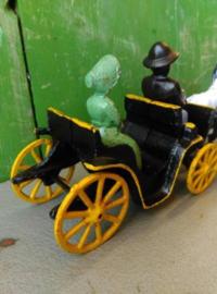 Oude Antieke Set Gietijzeren Speelgoed Hubley Kenton Amish Koets Western