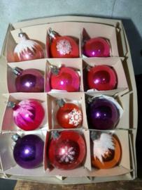 Oude Vintage Kerstballen 5348 Doosje Russische Mix Paars Oranje Roze