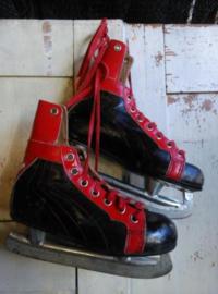 Oude Vintage Schaatsen Hockeyschaatsen Rood