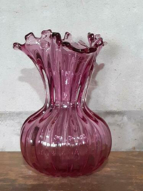 Oude Vintage Mid Century Mondgeblazen Glazen Vaas Egermann Roze