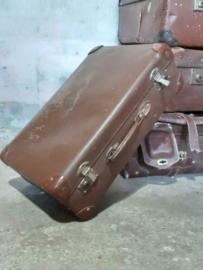 Oude Antiek Vintage Koffer Bruin