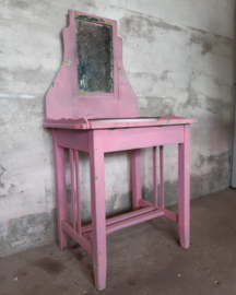 Oude Brocante Hongaarse Roze Kinder Kaptafel Wastafel met Spiegel