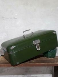 Oude Brocante Emaille Broodtrommel Donker Groen