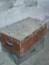 Oude Vintage Houten Kist Koffer Gereedschapskist