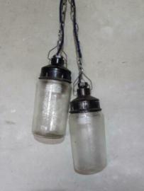 Oude Industriele Hanglamp Potlampje Snoer Donker Blauw