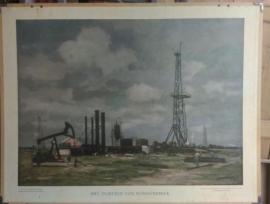 Oude Brocante Schoolplaat Het Olieveld van Schoonebeek