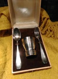 Oude Antiek Bestekset Geboorte Silverplate Coffret de Naissance Orbrille