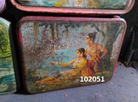 Oude Vintage Indiaanse India Blik Snoepblik Bombay Tin Assorti