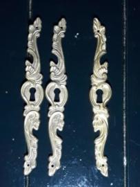 Oud Koperen Sleutelplaatje Links of Rechts 17x2.5 cm