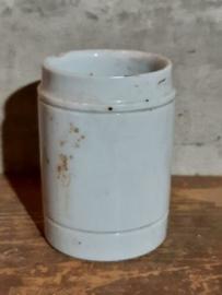 Oud Antiek Beboterd Porseleinen Zalfpotje 6.7 cm