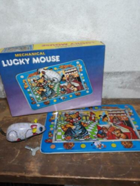 Oud Vintage Blikken Speelgoed - China - Lucky Mous Muisspel