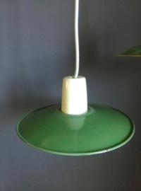 Oud Vintage Industrieel Emaille Hanglampje Strijkijzersnoer Groen