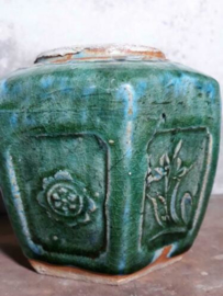 Oude Brocante Gemberpot Turquoise Groot