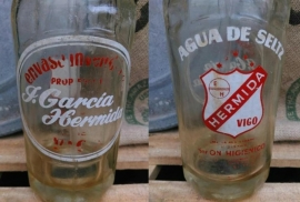 Oude Brocante Spaanse Sodafles Spuitfles Dubbel Logo