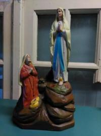 Oude Antiek Brocante Maria Beeldje met Bernadette Lourdes