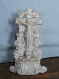 Oud Antieke Kruisbeeld Kruis Beeld  Andenne of Brussels Porselein