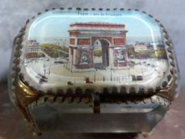 Oud Antiek Frans Bruidskistje Juwelenkistje Arc de Triomphe Paris