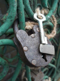 Oud Vintage Metalen Hangslot Slot M