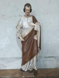 Oud Antiek Gipsen Beeld St. Joseph met Lelietak Jozef