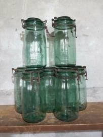 Oude Brocante Weckpot Groen Solidex  1 Liter