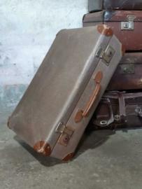 Oude Antiek Vintage Koffer Taupe