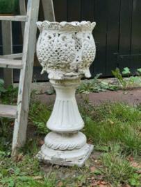 Oude Antieke Franse Gietijzeren Gesmede Jardiniere Tuinvaas op Voet