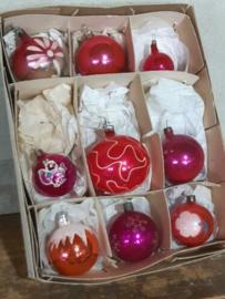 Oude Vintage Kerstballen 7245 Doosje Russische Roze