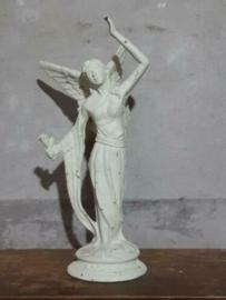 Gietijzeren Engel Beeld Engelbeeld Groot Wit/Roest met Bloem