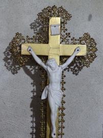 Oude Antieke Crucifix Kruisbeeld Jezus Biscuit Filligrain