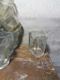 Oude Brocante Glazen Voerbakje Waterbakje Vogelkooi Waterglaasje