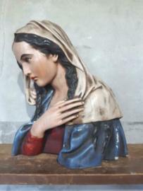Oud Antiek Gipsen Mariabeeld Maria Beeld Buste