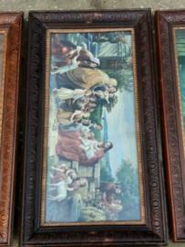 Oud Brocante Religieus Schilderij Jezus Laat de Kinderen tot mij Komen
