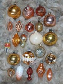 Oude Vintage Kerstballen 7541 Doosje Russische Oranje Goud