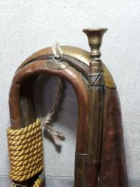 Oude Antieke Koperen Hoorn Jachthoorn Klaroen met Koord en Kwast