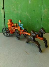 Oude Antieke Set Gietijzeren Speelgoed Hubley Kenton Brandweer