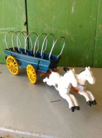 Oude Antieke Set Gietijzeren Speelgoed Hubley Kenton Huifkar Western