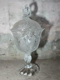 Oude Vintage Kristallen Glazen Bonbonnaire op Voet