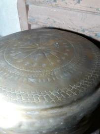 Oude Antieke Koperen Voorraadblik Chapitibox Chapati India
