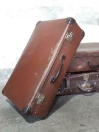 Oude Antiek Vintage Koffer Lichtbruin