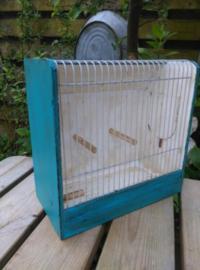 Oude Brocante Vogelkooi Kooi Turquoise Krijtverf