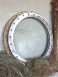 Oude Antiek Vintage Aluminium XL Patrijspoort 60 cm