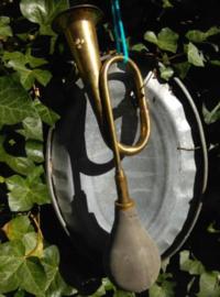 Oude Brocante Koperen Jachthoorn Hoorn met Blaasbalg H9